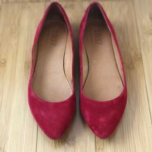 Madewell red suede flats/skimmers